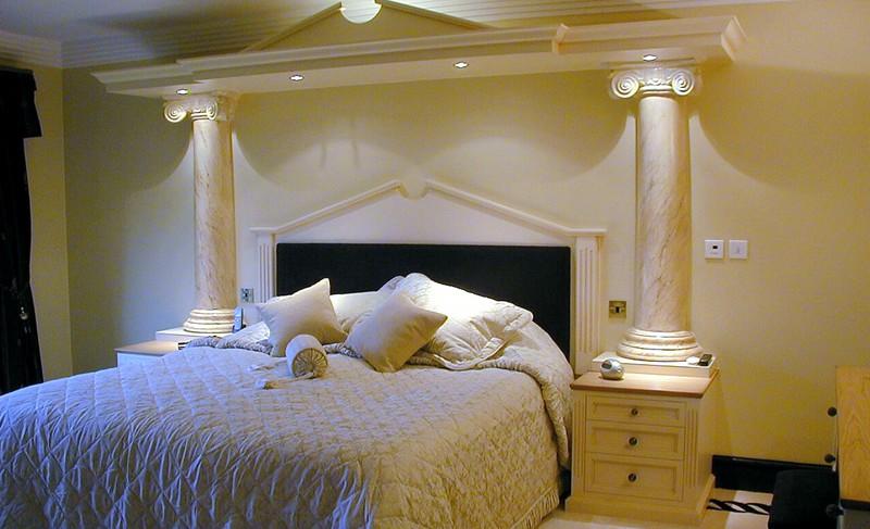 Matthew James Furniture Luxury Master Bedroom Hand Painted Roman Columns